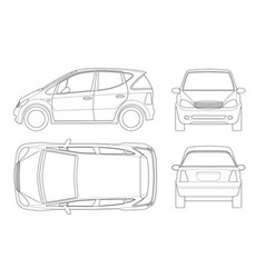 small compact electric vehicle or hybrid car on vector image