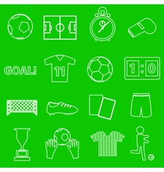 Soccer football simple white outline icons set vector
