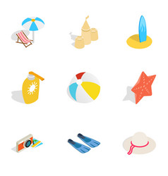 Summer travel icons isometric 3d style vector