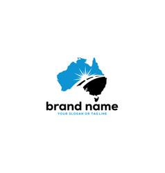 Sun logo design and australia map vector