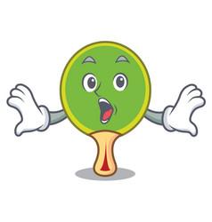 Surprised ping pong racket mascot cartoon vector