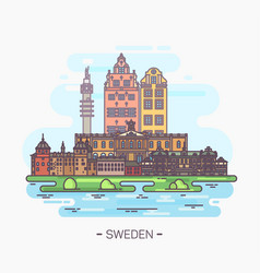 Sweden national landmarks in stockholm gamla stan vector