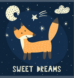 sweet dreams card with a cute fox vector image