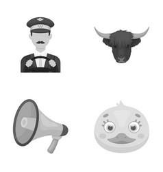 Taxi animal and other monochrome icon in cartoon vector