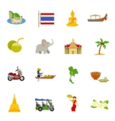 Thailand Icons Set vector image
