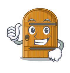 thumbs up wooden door isolated on character vector image