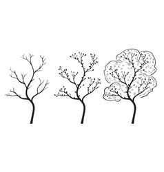Tree in season changing hand drawn doodle vector