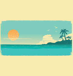 tropical island paradisevintage poster background vector image