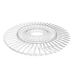 Turbine wheel concept outline vector