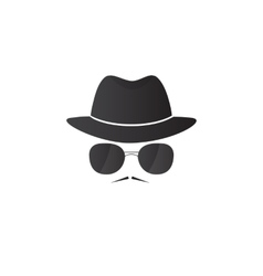 Unknown man in hat and glasses with a mustache vector