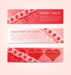 valentine banner set with lollipops vector image