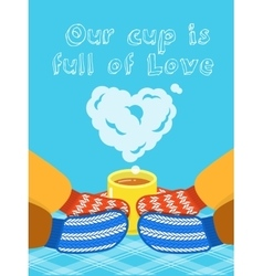 Valentines Day card with hands and cup vector image