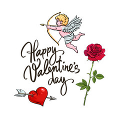 valentines day greeting card sketch cute cupid vector image