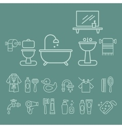Various Bathroom Elements Icons Set vector