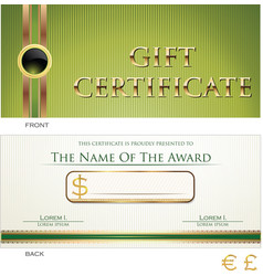 voucher gift certificate coupon green layout vector image