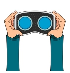 VR headset in hand icon vector