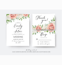 Wedding floral invite rsvp thank you card set vector