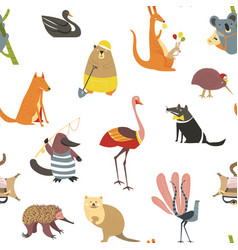 wild australian animals and birds seamless pattern vector image