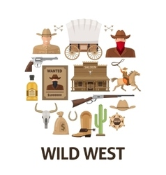 Wild West Round Composition vector