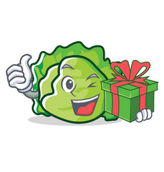With gift lettuce character cartoon style vector