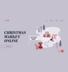 woman on christmas market internet advertisement vector image
