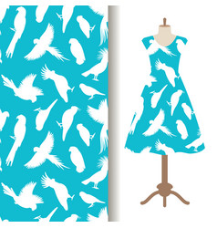 Womens dress fabric pattern with birds vector