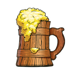 wooden beer cup brewery vector image