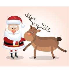 card santa claus big reindeer christmas design vector image