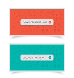 Download upload buttons with banners vector image vector image