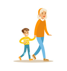 grandmother walking with boy holding hands part vector image vector image