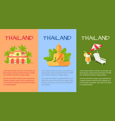 thailand banner with traditional oriental signs vector image vector image