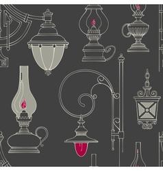 Vintage lamp seamless pattern vector