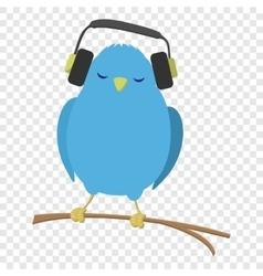 Blue bird listening to music vector image vector image