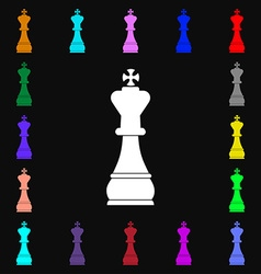 Chess king icon sign lots of colorful symbols for vector