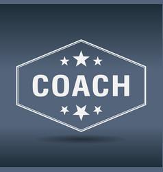 coach hexagonal white vintage retro style label vector image