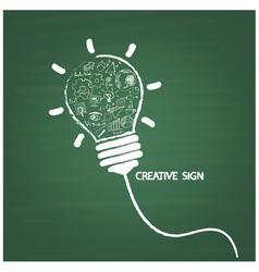 Creative light bulb handwriting on blackboard vector image