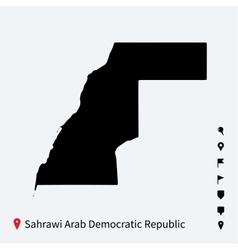 High detailed map of Sahrawi Arab Democratic vector image