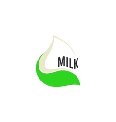 Isolated abstract white drop of milk in green vector image vector image