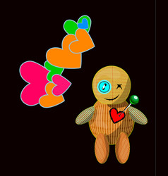 little toy with acute pin pierced rag heart vector image vector image