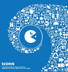 pac man icon sign Nice set of beautiful icons vector image vector image