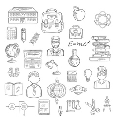 School and education sketch icons vector