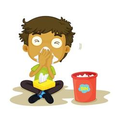 Sneezing boy vector image