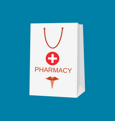 white shopping bag for medical pills vector image
