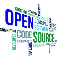word cloud open source vector image vector image