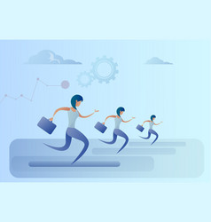 Business people group run team leader competition vector