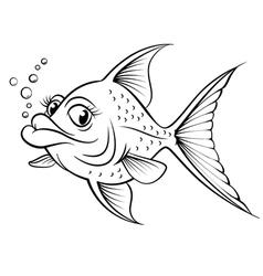 Cartoon drawing fish vector image vector image