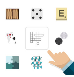 flat icon entertainment set of ace multiplayer vector image