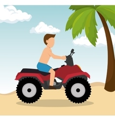 man drive atv on beach vector image