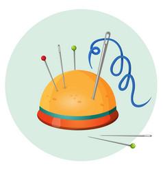 pincushion with needles and pins or thimbles vector image
