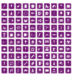 100 coffee icons set grunge purple vector